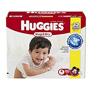 Huggies Snug and Dry Diapers, Size 4, Economy Plus Pack, 192 Count (One Month Supply)