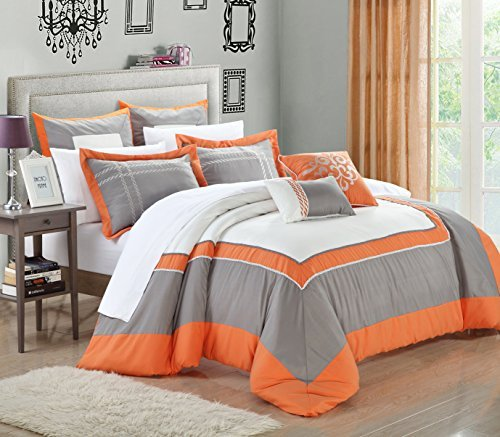 Chic Home Ballroom 11-Piece Comforter Set, Queen Size, Orange; Sheet Set, Shams And Decorative Pillows Included front-152290