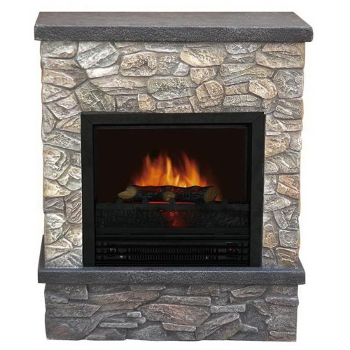 Yosemite Home Decor Df-Mp26F 26-Inch Princeton Faux Stacked Stone Electric Fireplace Mantel Package