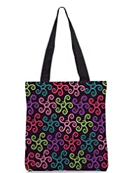 Snoogg Colorful Floral Seamless Pattern In Cartoon Style Seamless Pattern Designer Poly Canvas Tote Bag - B012FUI2D4