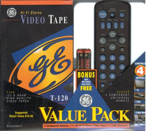 Value Pack - 2 6 Hour High Quality Video Tapes & 4 Component Universal Remote