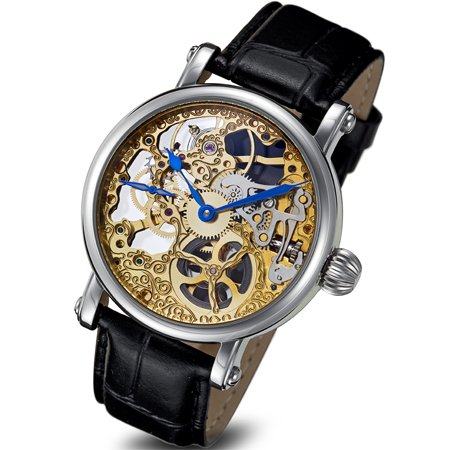 Rougois Skeleton Hand Wind Mechanical Two-Tone Watch RMS43G