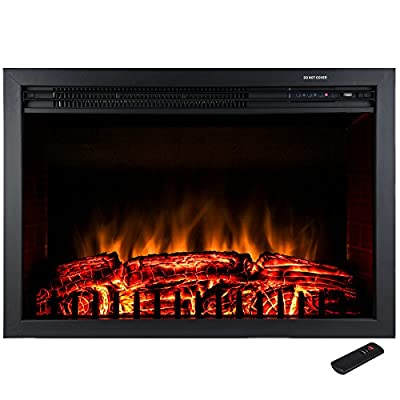 "Golden Vantage 28"" Freestanding Tempered Glass 5200 BTU 1500W Adjustable Electric Insert Stove Fireplace w/ Remote Control"