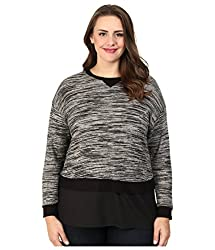 Calvin Klein Plus Women's Plus Size L/S Snit w/ Crepe de Chine Bottom Birch/Black Sweater 1X