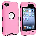 eForCity Hybrid Case compatible with Apple® iPod touch® 4th Generation, Black Hard / Pink Skin