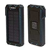 X-DRAGON Solar Charger with Cigarette Lighting Power Bank 15000mAh Portable Dustproof Shockproof Dual USB Solar Panel, Dual super bright LED light(BBLU)