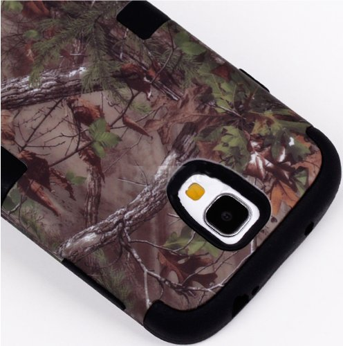 "Mylife (Tm) Black - Brown Tree Camouflage Design (3 Piece Hybrid) Hard And Soft Case For The Samsung Galaxy S4 ""Fits Models: I9500, I9505, Sph-L720, Galaxy S Iv, Sgh-I337, Sch-I545, Sgh-M919, Sch-R970 And Galaxy S4 Lte-A Touch Phone"" (Fitted Front And Bac"