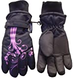 Nice Caps Girls Thinsulate Glove with Flower Tattoo Print (4-7yrs, black/fuchsia)