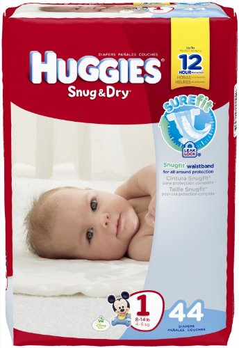 Huggies Snug and Dry Diapers-Size 1-Jumbo Pack-44 Count.