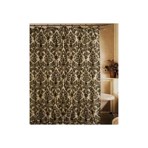 Medallion black cream toile fabric shower curtain fleur de lis - Fleur de lis shower curtains ...