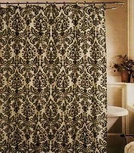 Medallion Black Cream Toile Fabric Shower Curtain Fleur De Lis