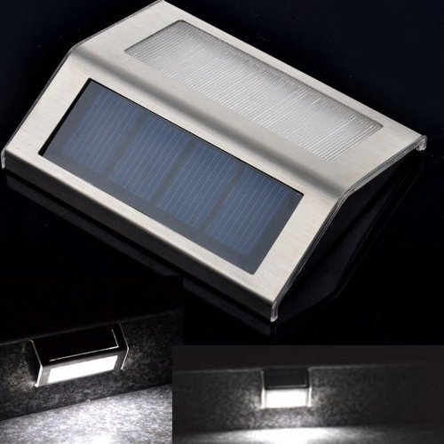 Solar Powered 2Led Light Step Stair Pathway Path Deck Garden Fence Yard Lamp (White Light)