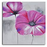 TJie Art Hand Painted Mordern Oil Paintings Pink Poppies in Mist 1-Piece Canvas Wall Art Set Two-piece contemporary painting in gray and pink,Gallery stretched wooden frame,Hand-painted by artist using acrylic on canvas,ready for wall hanging,