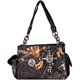 Rhinestone Camouflage Cross Women's Shoulder Handbag Purse with Matching Wallet in One Set, 4 Colors. AW8019