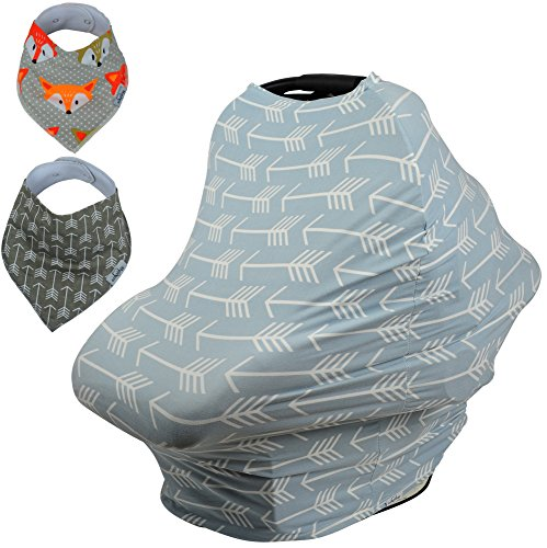 Baby Car Seat & Nursing Cover BONUS Bandana Drool Bibs & Drawstring Carry Bag Shower Gift Breathable Stretchy Universal 4 in 1 Multi-Use Infant Carseat Canopy Covers Shopping Cart High Chair Stroller (Custom Sest Covers compare prices)