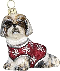 The Pet Set Diva Dog Blown Glass European Dog Ornament by Joy to the World Collectibes - Brown and White Shih Tzu with Snowflake Sweater
