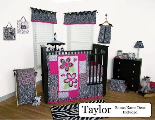 Trend Lab Baby Nursery Bedding Ensemble Set Plus Personalized Name Decal, Zahara Black & White Zebra, 10Pc Set