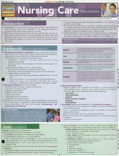 Nursing Care Procedures Laminated Reference Guide (Quickstudy: Academic)