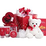 Art of Appreciation Gift Baskets Cuddles and Kisses Chocolate Truffle Spa Set with Sweets and Teddy Bear