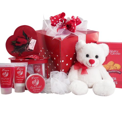 Cuddles & Kisses Chocolate Truffle Spa Set with Chocolates, Cookies & Teddy Bear