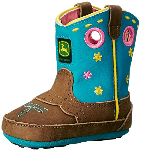 John Deere JD0157 Pull On Crib Boot (Infant/Toddler), Tan Leather Turquoise, 4 M US Toddler