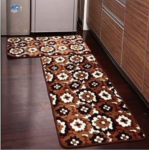 Ustide 2 Piece Brown Flower Kitchen Rug Set Kitchen Memory Foam Rug Soft Rug Coral