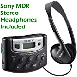 Sony Walkman Digital Tuning Portable Palm Size AM/FM Stereo Radio includes Sony MDR Stereo Headphones (Black)