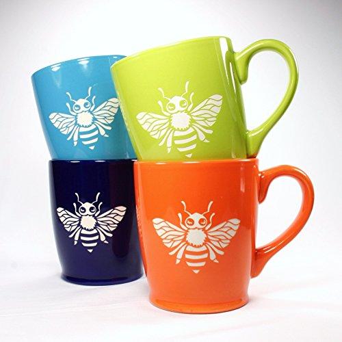 HONEY BEE Mugs - Set of 4 Colors - 16oz Dishwasher-Safe Sandblasted Ceramic (Dishwasher Color compare prices)