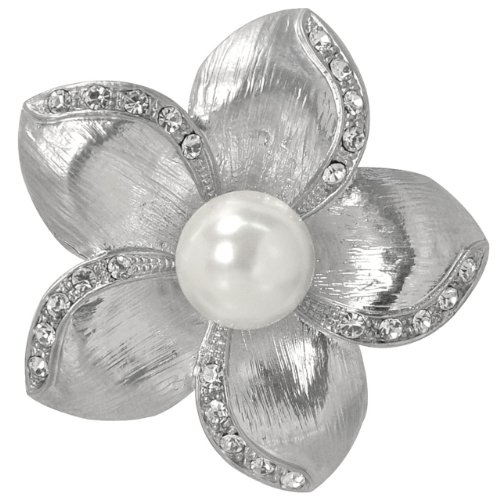 Modern Pearl Center Crystal Plumeria Flower Brooch