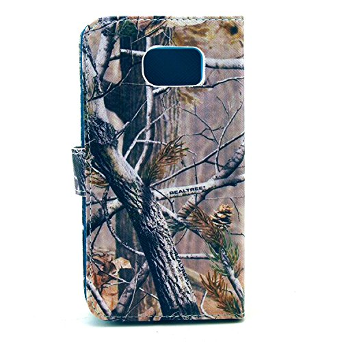 S6 Case - Samsung Galaxy S6 Case - ARTMINE Trees Camo Durable Premium PU Leather Flip Folio Book Style Wallet Protective Skin Pouch Phone Case Magnetic Closure with Credit ID Card Slot Inner Silicone TPU Holder Kickstand Feature HD Screen Protector Gifted for Samsung Galaxy S6 Verizon - ATT - Sprint - T-Mobile