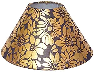 """RDC 10"""" Round Brown with Golden Flower Designer Lamp Shade for Table Lamp"""