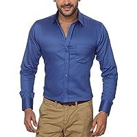 GlobalRang Men's Cotton Blue Formal Shirt