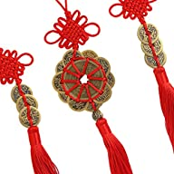 Smile Buy Chinese Antique Traditional Red Enless Knot Feng Shui Lucky Coins for Wealth and Good…