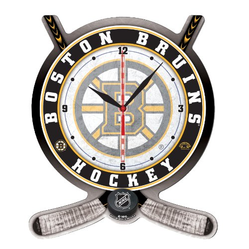 NHL Boston Bruins High Definition Clock - Hockey Stick and Puck