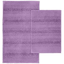 Garland Rug 2-Piece Essence Nylon Washable Bathroom Rug Set, Purple