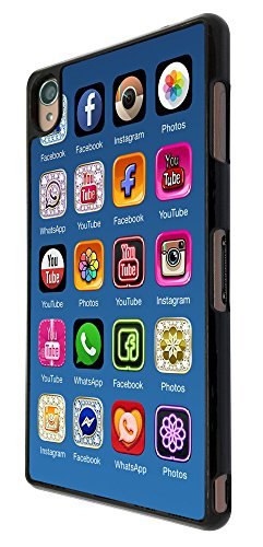 497 - Social Media iphone Icons Design für Alle Sony Xperia Z / Sony Xperia Z1 / Sony Xperia Z2 / Sony Xperia Z3 / Sony Xperia Z4 / Sony Xperia Z1 Compact / Sony Xperia Z2 Compact / Sony Xperia Z3 Compact / Sony Xperia Z4 Compact / Sony Xperia M2 / Sony Xperia M4 Fashion Trend Hülle Schutzhülle Case Cover Metall und Kunststoff - Bitte wählen Sie Ihr Telefonmodell und Farbe aus der Dropbox
