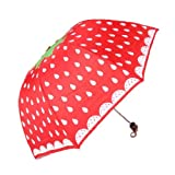 Sweet Home Women Strawberries Umbrella Unique Personality Folding Umbrellas Great Gift (aRed)