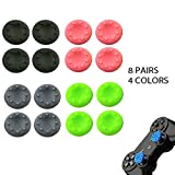 ARICHEZO 8 Pairs Thumb Grip Stick Cover For PS4 PS3 PS2 XBOX 360 ONE WII - Case Skin Joystick Controller - Pack of 16 pcs (4 Black + 4 Grey + 4 Pink + 4 Green) Set # 2