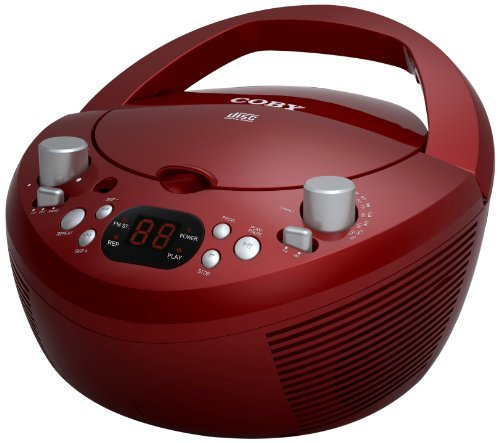Coby CXDC251RED Portable CD Player with AM/FM Radio, Red