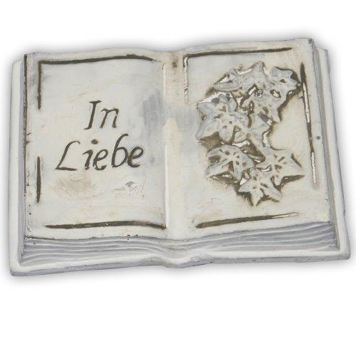 """Keramik Buch 11x8x2cm mit Spruch """"In Liebe"""" mit Efeu"""
