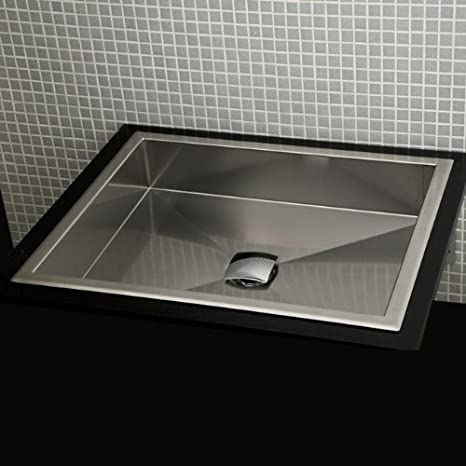 Lacava Under-counter or self-rimming lavatory without an overflow. 16 gauge stainless steel Brushed Stainless Steel Argento