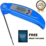 Instant Read Thermometer Innoo Tech BBQ Meat Thermometer Barbeque Recipes Ebook Included Super Fast Instant Read Digital Electronic Cooking/food Thermometer with Collapsible Internal Probe
