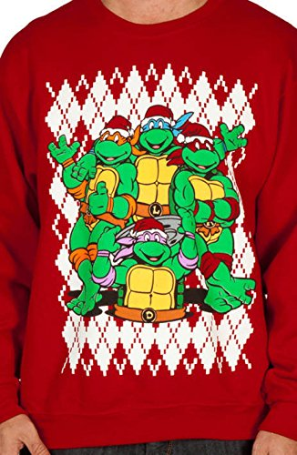 TMNT Christmas Faux Ugly Sweater (Large) (Ninja Turtles Sweater Mens compare prices)