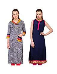 Cenizas Women's Cotton Black Kurtas Pack Of 2 ( 9023BLU & 9024BLK)