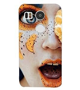 PrintDhaba GIRL FACE ORANGE D-6876 Back Case Cover for LG NEXUS 5X (Multi-Coloured)