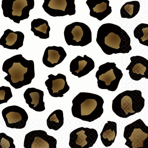 "Amscan Decorative Leopard Party Beverage Paper Napkins (16 Pack), 5 x 5"", Black/Brown"