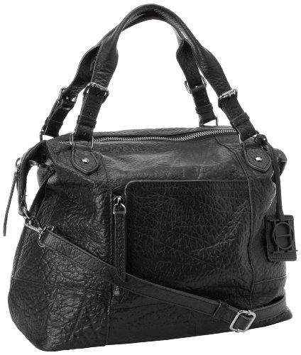 OH by Joy Gryson Women's Unzipped Embossed Satchel, Black, One Size