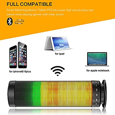 Bluetooth speakers, Pasonomi® Portable Bluetooth Wireless Speaker with Colorful LED Light Subwoofer HIFI Speaker Support Hands-free Function USB TF Card