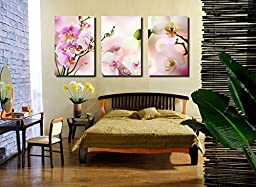 Spirit Up Art Large Pink Orchids Picture Painting on Canvas Print Stretched and Framed, Modern Home Decorations Wall Art set of 3 Each is 40*60cm #05-JD-047