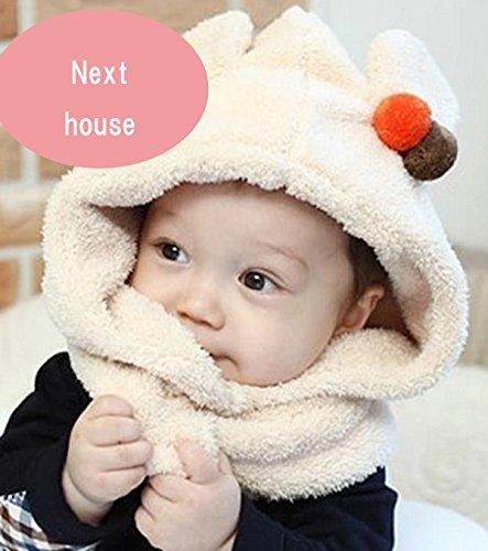 【Next house】  選べる5色  ベビー & キッズ 用 かわいい クマ 耳 フードウォーマー ネックウォーマー  【Next house】 (クリーム)
